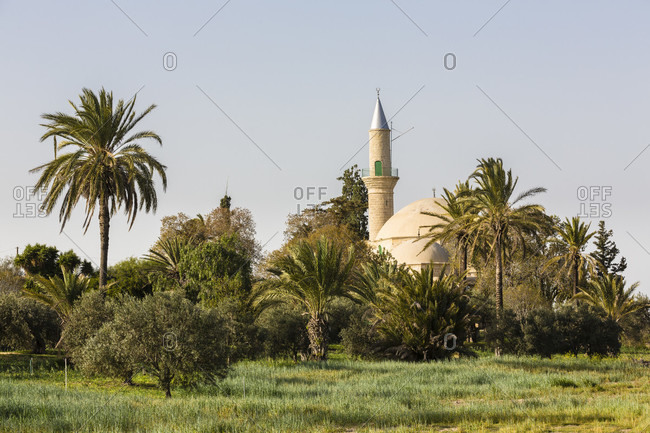 Hala Sultan Tekke Mosque by the shore of the Larnaca salt lake, Cyprus