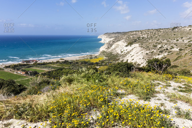 Elevated view on the steep coast from the Archaeological site of Kourion, Cyprus
