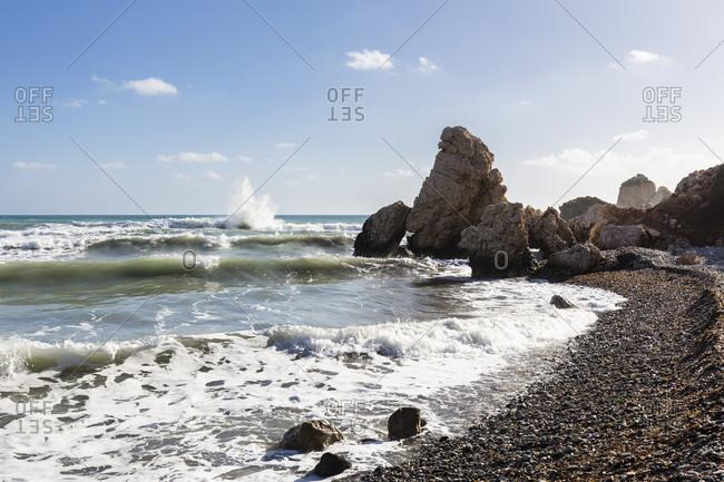 Petra tou Romiou or Aphrodite's Rock, Paphos, Cyprus