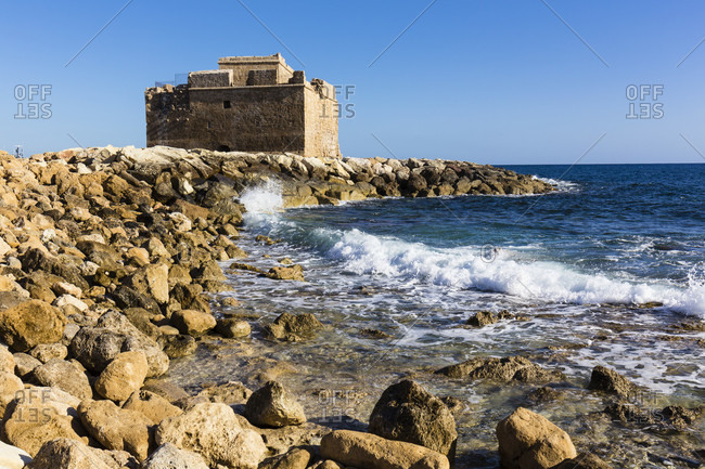 Castle of the 14th century in the harbor of Paphos, Cyprus
