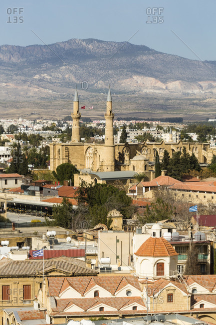 Elevated view on the Selimiye Mosque in the turkish part of Lefkosia, Nicosia, Cyprus