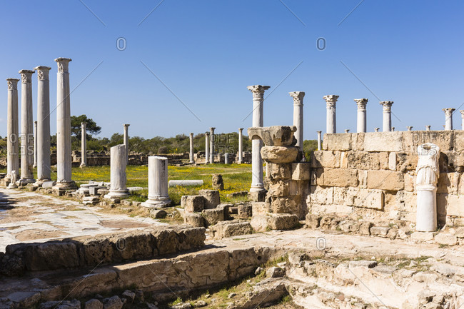 Columned Gymnasion at the archaeological site of Salamis, Famagusta, Gazimagusa, North Cyprus, Cyprus
