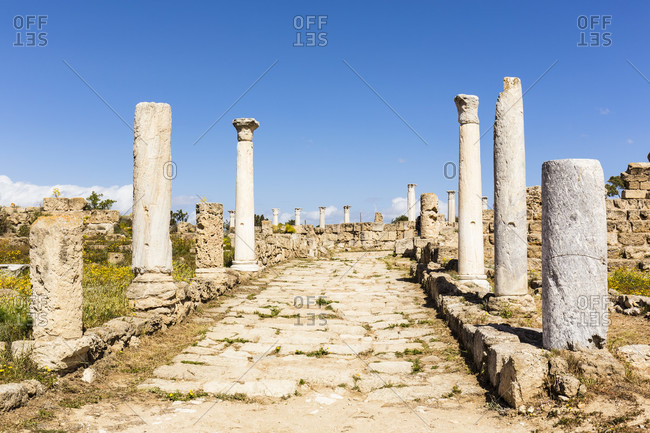 Columned walkway at the archaeological site of Salamis, Famagusta, Gazimagusa, North Cyprus, Cyprus