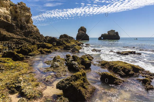 Rock formations at Praia de Arrifes