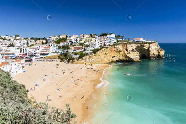 Elevated view on Carvoeiro village and its beach Praia de Carvoeiro