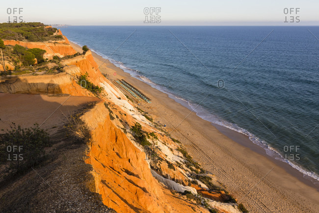 Cliffs on Praia de Falesia at sunset