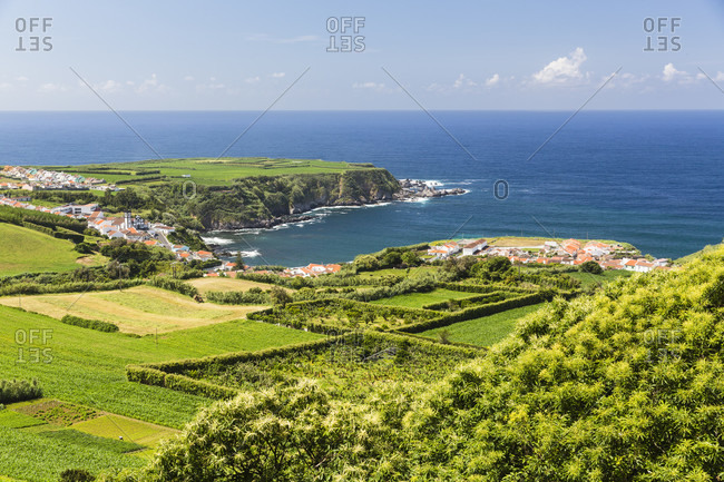 Elevated view on the agricultural landscape and Ponta Formosa, a small peninsula