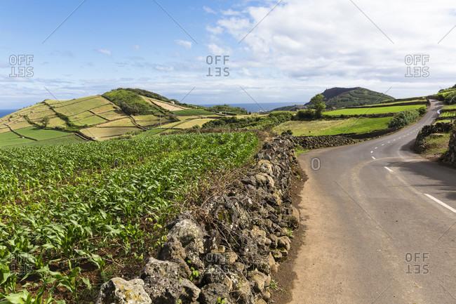 Volcanic landscape by a road near Ponta das Contendas