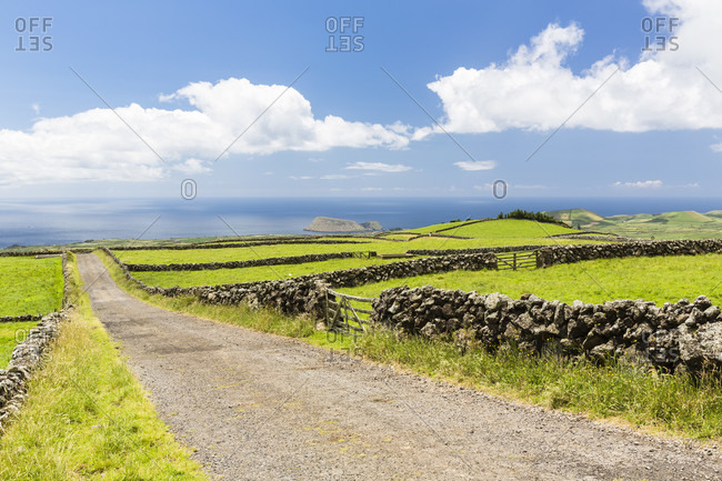 Rural unpaved road framed by lava stone walls leading through agricultural landscape