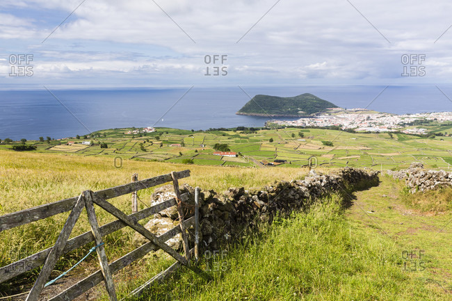 Elevated view on agricultural landscape and Angra do Heroismo from Serra da Ribeirinha
