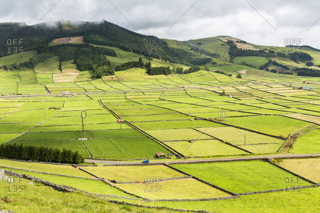 Elevated view of patterns of the agricultural landscape, Serra da Ribeirinha