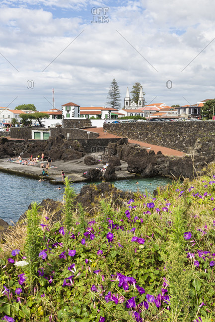 July 8, 2015: Lava rocks by the harbor in front of the Church of Santa Maria Madalena