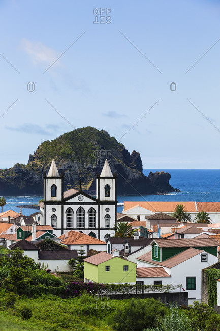 Elevated view on the Church of Lajes and the Castelete, a huge lava rock behind