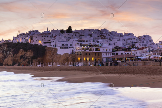 May 15, 2015: Praia de Pescadores and the old town of Albufeira at sunset