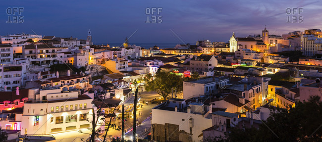 May 15, 2015: View on the illuminated old town of Albufeira, dusk