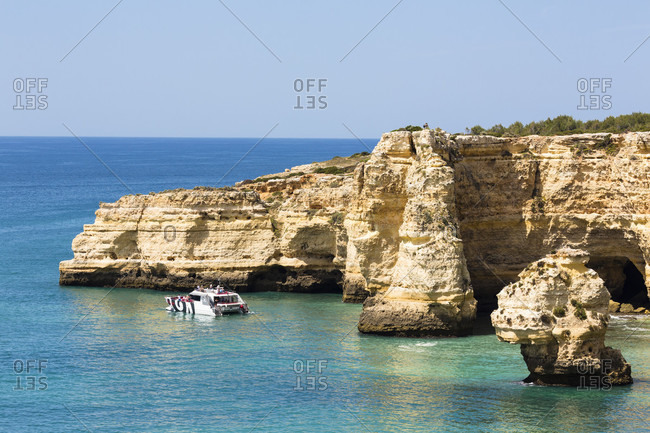 May 15, 2015: Elevated view on rock formations on Praia da Marinha