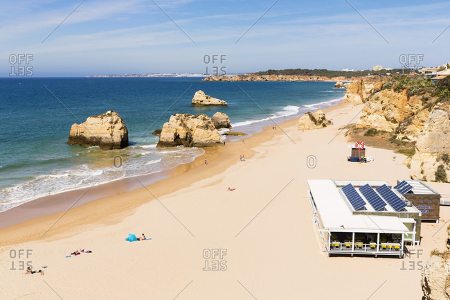 May 11, 2015: Sand beach and rocks at Praia da Rocha