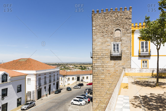 May 14, 2015: Corner tower of the Pousada dos Loios, a former church of the Convento, historic city center, UNESCO World Heritage Site