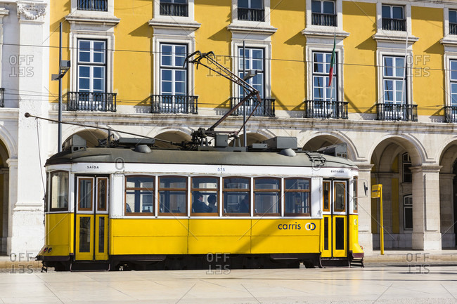 May 15, 2015: Old tram in Praca do Comercio, Baixa district