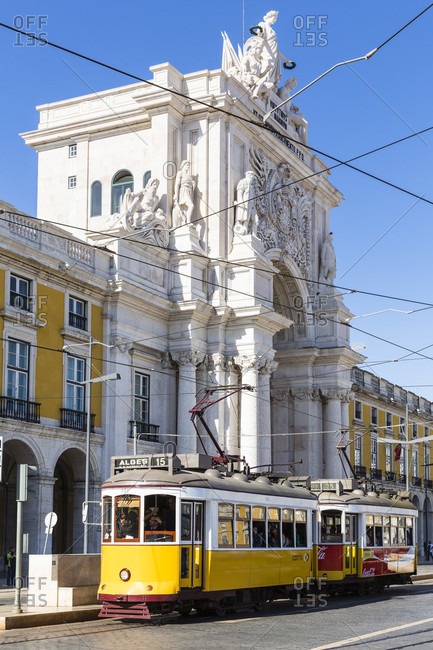 May 15, 2015: Two old trams in Praca do Comercio, Baixa district