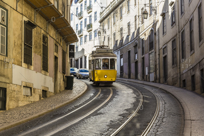 May 15, 2015: Traditional old tram on a street in the historic city of Lisbon in the Baixa district