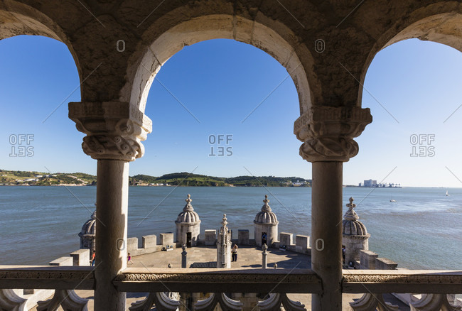 May 16, 2015: View from the Torre de Belem on the Tejo River, an important example of Manueline architecture, UNESCO World Heritage Site