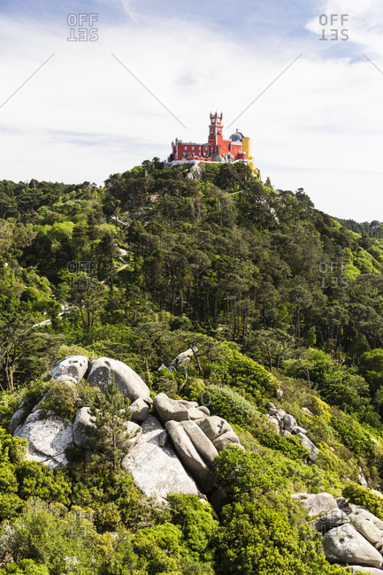 View from Castelo dos Mouros to the Pena National Palace, UNESCO World Heritage Site