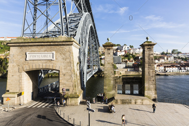 May 18, 2015: Entrance to the Ponte de Dom Luis I Bridge, historic district, UNESCO World Heritage Site