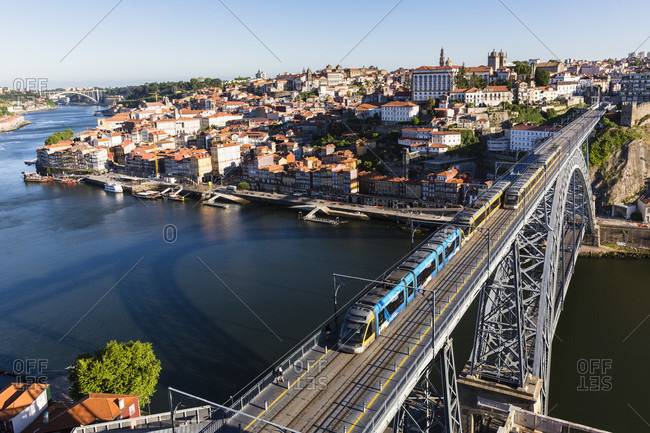 May 19, 2015: Elevated view on city and Ponte de Dom Luis I. Bridge over the Douro River, UNESCO World Heritage Site