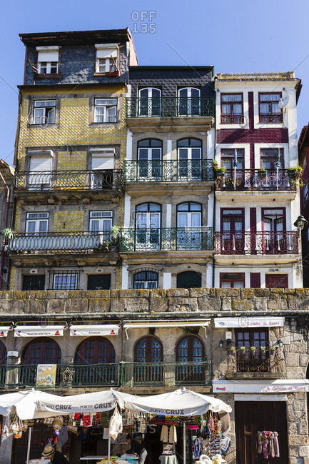 May 19, 2015: Colorful houses in Cais da Ribeira, Historic District, UNESCO World Heritage Site