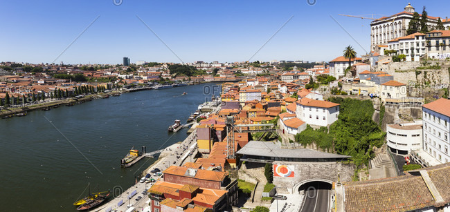 May 19, 2015: Elevated view on the Bishop's Palace in the city on the Douro River, Ribeira, historic district, UNESCO World Heritage Site