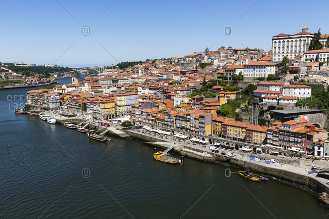 Elevated view on the Bishop's Palace in the city on the Douro River, Ribeira, historic district, UNESCO World Heritage Site