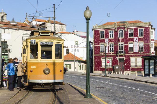 May 19, 2015: Historic tram in the streets of the old city, historic district, UNESCO World Heritage Site
