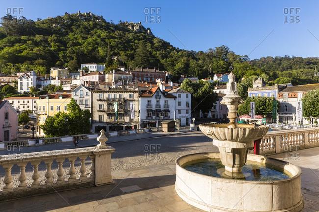 May 21, 2015: Praca da Republica square in front of Castelo dos Mouros, UNESCO World Heritage Site