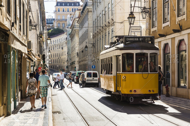 May 21, 2015: Traditional old tram on a street in the historic city of Lisbon in the Baixa district