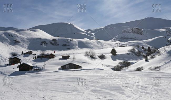 Ski area and toboggan run on the Fideriser Heubergen in the canton of Graubünden, in the HG Mattjishorn, Switzerland