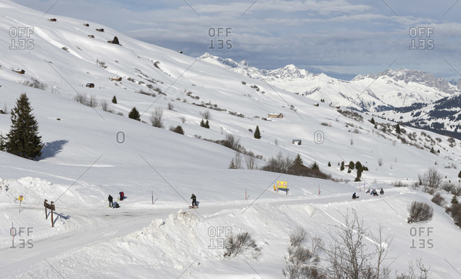 Ski area and toboggan run on the Fideriser Heubergen in the canton of Graubünden, Switzerland