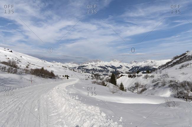 Ski area on the Fideriser Heubergen in the canton of Graubünden, Switzerland