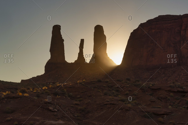Monument Valley in Arizona, Navajo Indian Reservation, rock formations in the evening light