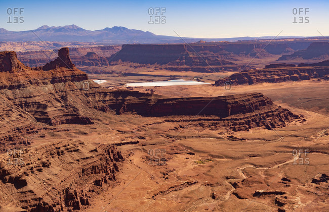 USA, Utah, Moab, Canyonlands National Park, Island in the Sky, view near Grand View Point towards La Sal Mountains