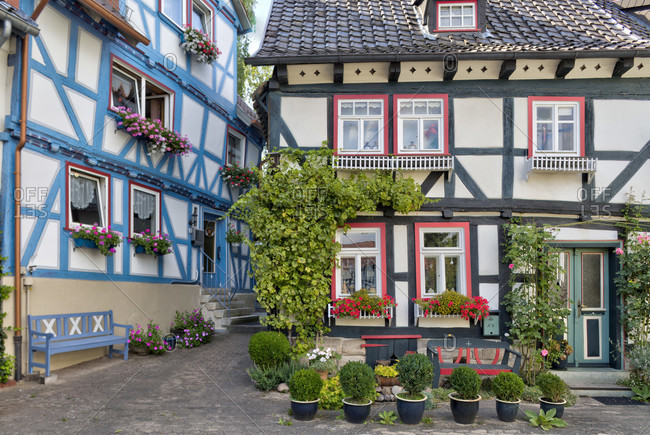 Half-timbered house, floral decoration, window, house view, old town, Bad Sooden-Allendorf, Hesssen, Germany, Europe