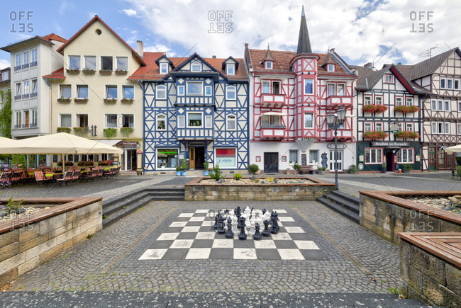 July 28, 2018: Am Kurpark, half-timbered house, front door, house view, old town, Bad Sooden-Allendorf, Hesssen, Germany, Europe