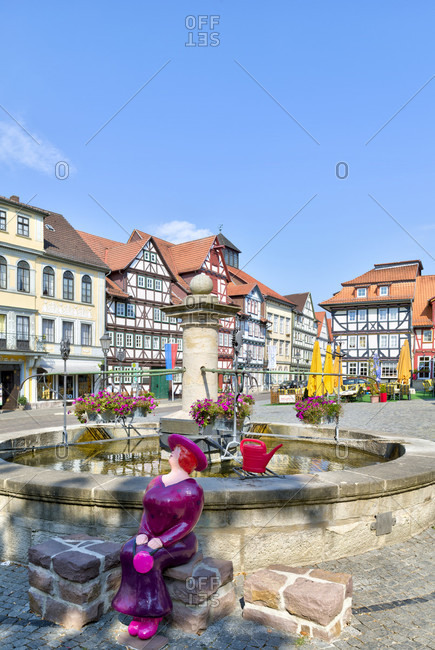 July 28, 2018: Market square, fountain, house facade, half-timbering, Bad Sooden-Allendorf, Hesssen, Germany, Europe