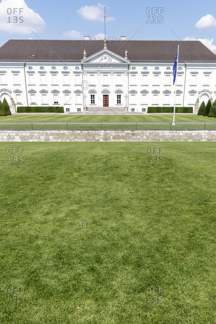 June 17, 2019: Bellevue Palace, government buildings, park, house facade, city center, Berlin, Germany