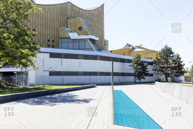June 14, 2019: Berlin Philharmonic, Kulturforum, Tiergarten, house facade, architecture, Berlin, Germany