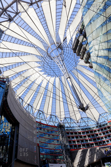June 14, 2019: Sony Center, dome, roofing, glass construction, Potsdamer Platz, architecture, Berlin, Germany