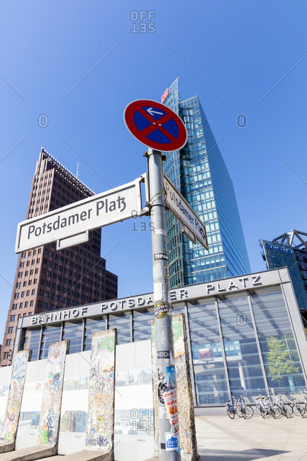 June 14, 2019: Potsdamer Platz, former inner German border, parts of the wall, skyscrapers, house facade, city life, city center, Berlin, Germany