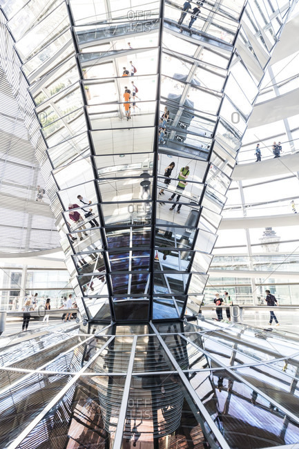 June 13, 2019: Reichstag dome, inside, visitor, Reichstag, Bundestag, government district, Berlin, Germany