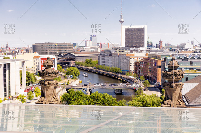 June 13, 2019: View from the Reichstag, east, view, foresight, Bundestag, government district, Berlin, Germany