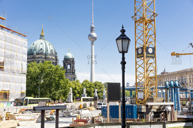 June 13, 2019: Berlin Cathedral, radio tower, Museum Island, facade, construction site, Mitte, Berlin, Germany